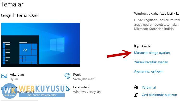 windows 10 masaüstü bilgisayarım simgesi
